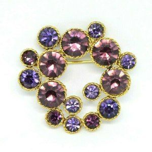Purple Glass Rhinestone Large Cluster Brooch